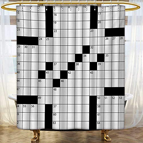lacencn Word Search Puzzle,Shower Curtains 3D Digital Printing,Blank Newspaper Style Crossword Puzzle with Numbers in Word Grid,Satin Fabric Sets Bathroom,Black and White,Size:W69 x L70 inch