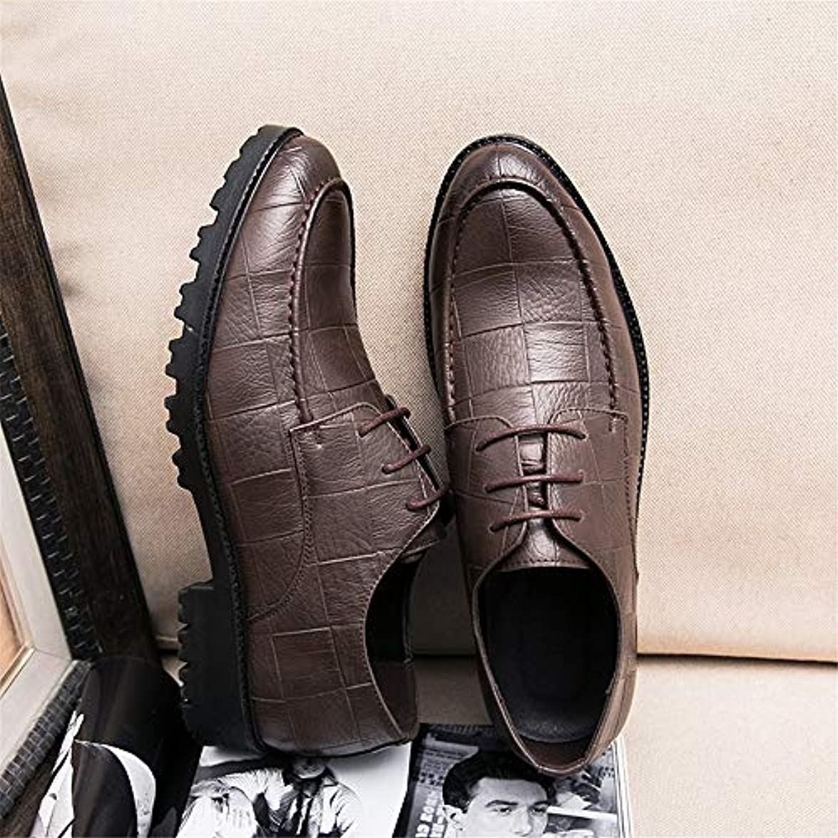 Iwgr Moda Maschile Oxford Casual Style Grid Lines Comode E Low Top Formal Shoes Fashion Slipper