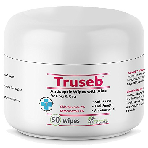 (Truseb | #1 Chlorhexidine Wipes with Ketoconazole-50 Antiseptic Pads with Aloe for Dogs & Cats-Antifungal & Antibacterial-Cleans Face, Ears & Body,Against Pyoderma, Acne&Hot Spots, Made USA (50 Wipes))