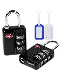 Anpro 2 x TSA Candados de Seguridad - Tres Maletas Código de Bloqueo, Negro con 2 Etiquetas de Equipaje,Lock for door, luggage,trunk and box