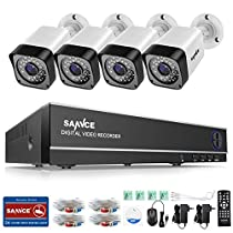 SANNCE 8-Channel HD-TVI 1080N/720P DVR Battery Powered Security Camera System and (4) 1.0 MP Outdoor Weatherproof Bullet Surveillance Cameras, Motion Alert, Smartphone, PC Easy Remote Access, NO HDD