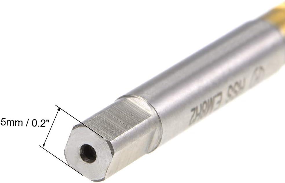 uxcell Metric Spiral Machine Screw Tap M8 Thread H2 3 Flutes Cobalt Titanium Plating M35 HSS