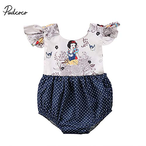 Sale Lovely Newborn Baby Girl Cartoon Snow White Ruffles Sleeve Patchwork Dot Princess Baby Romper Jumpsuit Outfit Sunsuit Clothes