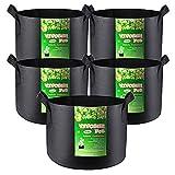 VIVOSUN 5-Pack 300G Fabric Pots Grow Bags with