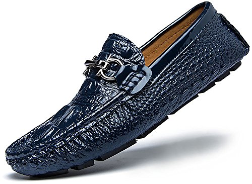 (Men's Driving Shoes 3D Embossed Leather Casual Slip-on Loafers Shoes with D Metal)