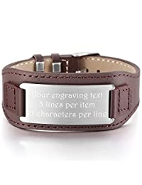 MeMeDIY Silver Brown Stainless Steel Genuine Leather Bracelet Bangle Cuff Adjustable - Customized Engraving