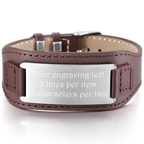 MeMeDIY Silver Tone Brown Stainless Steel Genuine Leather Bracelet Bangle Cuff Adjustable - Customized Engraving