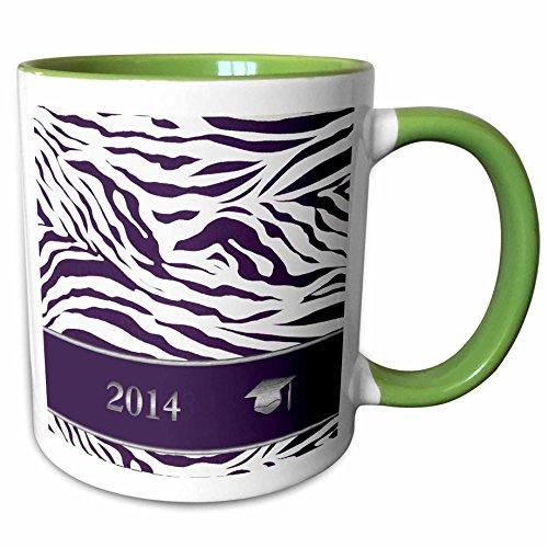 3dRose Beverly Turner Graduation Design - 2014 Zebra Print with Graduation Cap, Purple - 15oz Two-Tone Green Mug (mug_180904_12)