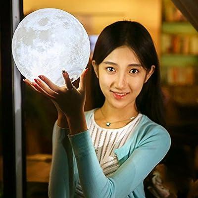 3D Printing Moon Light Lamp Charging Moon Night Light for Girl Friend Gift (22cm)