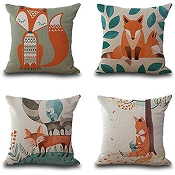 Amazon Lovely Animal Fox Throw Pillow Case Decor Cushion