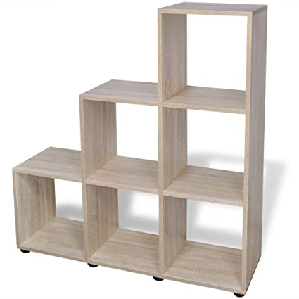 BestHomeFuniture Staircase Shelf Bookcase Storage Unit Filing Display Rack  Standing Oak Finish