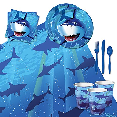 Shark Splash Tableware Party Bundle for 16: Plates, Napkins, Cups, Tablecover, and (Shark Plates)