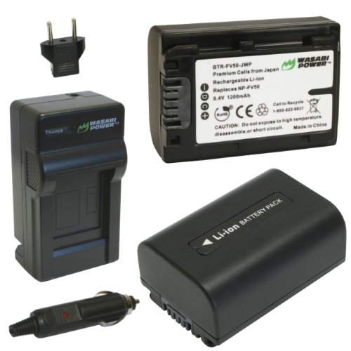 Wasabi Power Battery (2-Pack) and Charger for Sony NP-FV30, NP-FV40, NP-FV50 and Sony DCR-SR15, SR21, SR68, SR88, SX15, SX21, SX44, SX45, SX63, SX65, SX83, SX85, FDR-AX100, HDR-CX105, CX110, CX115, CX130, CX150, CX155, CX160, CX190, CX200, CX210, CX220, C by Wasabi Power