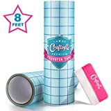 Craftopia Clear Vinyl Transfer Tape with Grid for Adhesive Vinyl Medium Tack   12 Inch x 8 Foot Vynil Transfer Paper Roll   Compatible with Oracal 651 Vinyl, Cricut Vinyl and Cricket Maker Machine