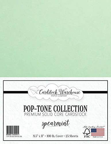 SPEARMINT GREEN Cardstock Paper - 8.5 x 11 inch 100 lb. Heavyweight Cover -25 Sheets from Cardstock Warehouse by Cardstock Warehouse