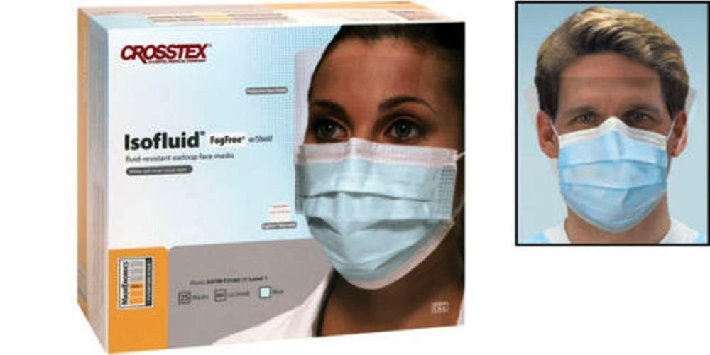 Crosstex Isofluid Fog Free Facemasks with Faceshield Blue 25/Box