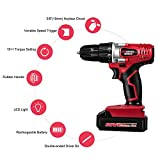 """20V Cordless Drill, Power Drill Set with 3/8"""" Keyless Chuck, Variable Speed, 16 Position with LED Light, 22pcs Drill/Driver Bits Included, Masterworks MW316"""
