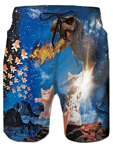 Belovecol Men's Swim Trunks Summer Novelty Dinosaur Cat Fish Quick Dry Surf Board Shorts XXL