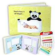 Baby Memory Book Unisex Yellow - First 5 Years Memories Keepsake Modern Journal.