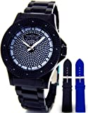 Mens King Master Super Techno Genuine Real Diamond Watch Black Case Metal Band #KM-672, Watch Central