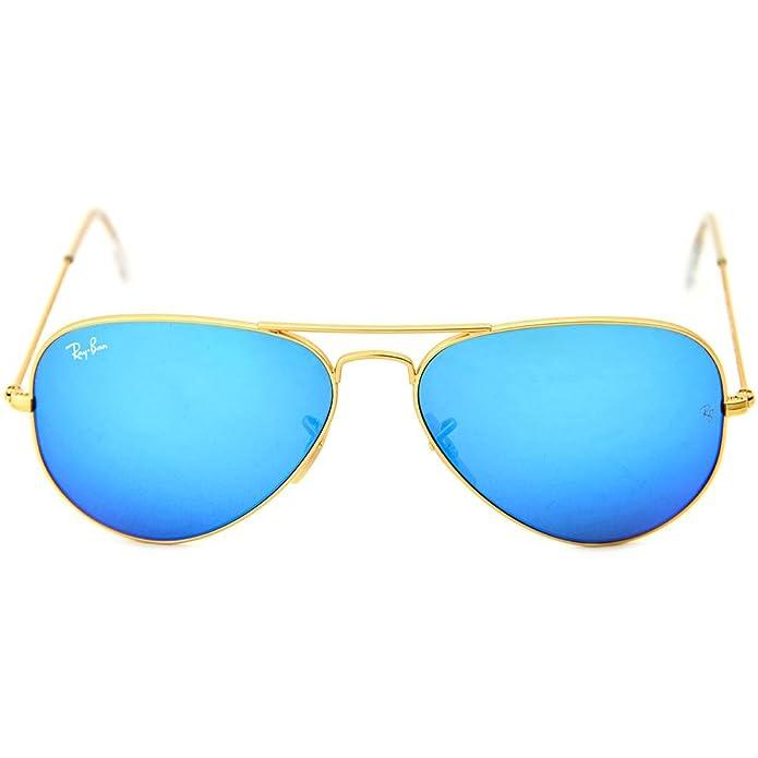 Amazon.com: Ray Ban 3025 Aviator metal dorado marco azul ...