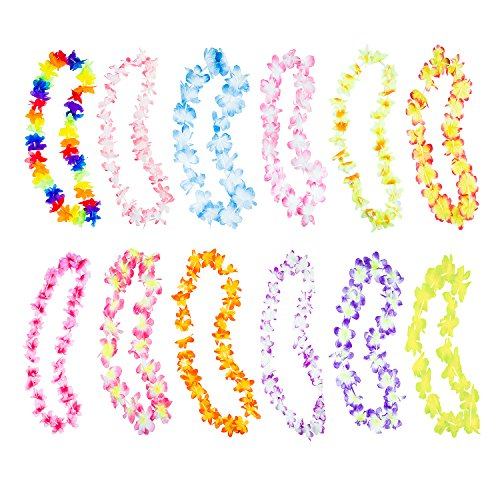 Costumes And Party Supplies (Hawaiian Ruffled Simulated Colorful Luau Silk Flower Leis Necklaces for Tropical Island Beach Theme Party Event, Birthday Supplies, Costume (50 Pack))