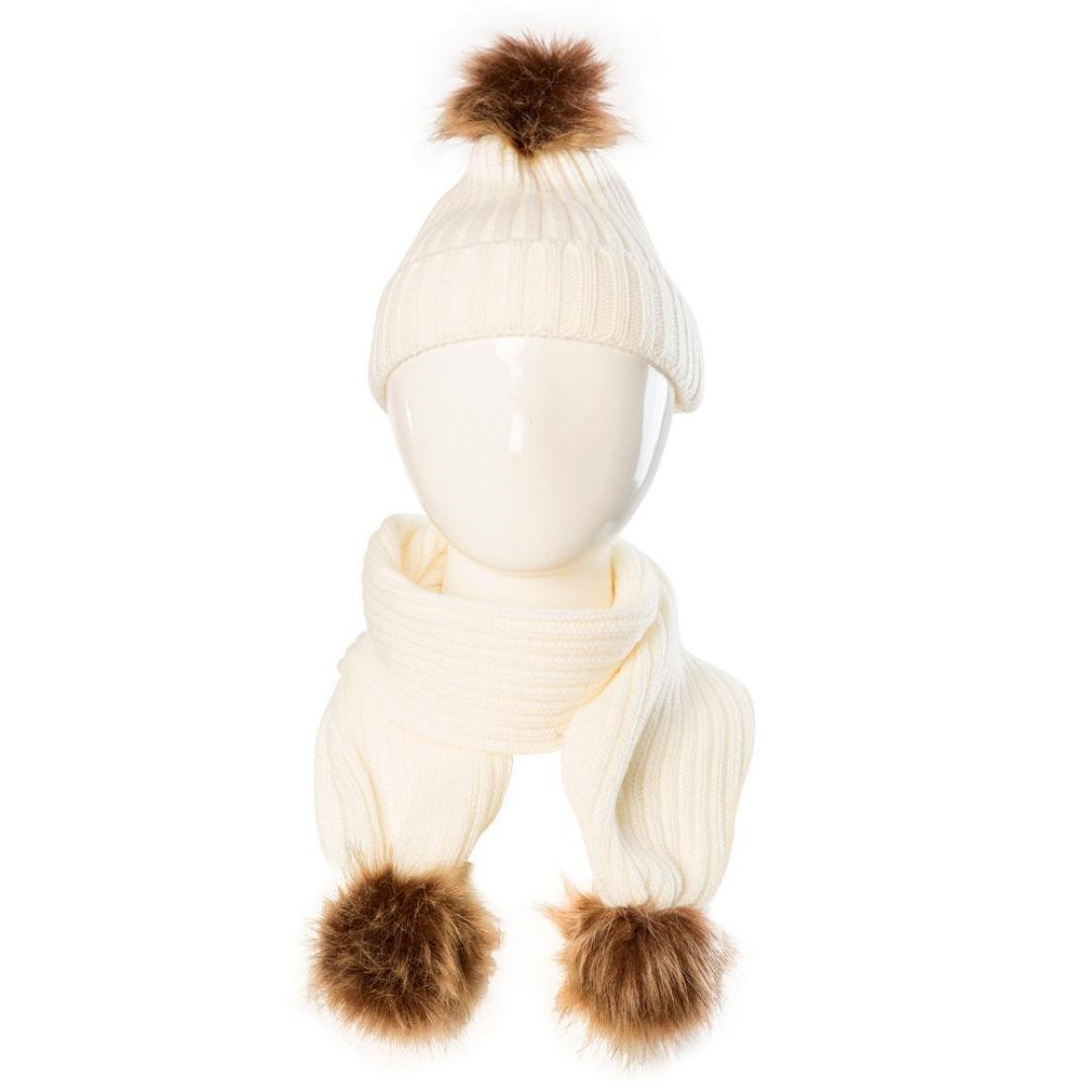 Inkach Toddler Girl Pom Pom Hats Kids Winter Warm Caps Scarf Set Baby Knit Hats