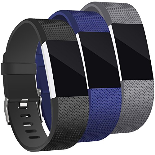 [Classic Edition] 3Pack Compatible Fitbit Charge 2 Band, Hotodeal Classic Soft TPU Adjustable Replacement Bands Fitness Sport Strap, Black+Blue+Grey, Large