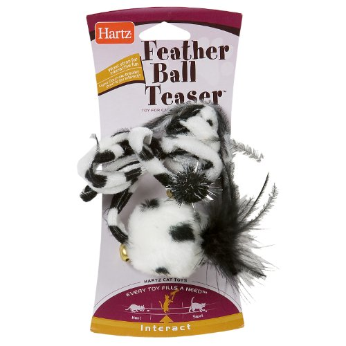Hartz Feather Ball Teaser Cat Toy (Color May Vary), My Pet Supplies