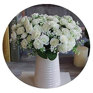 ALWAYS ME 1 Bouquet 15 Buds Artificial Flowers Silk Flower Fall Roses Fake Leaf Wedding Decor Home Christmas Ornament,4 29