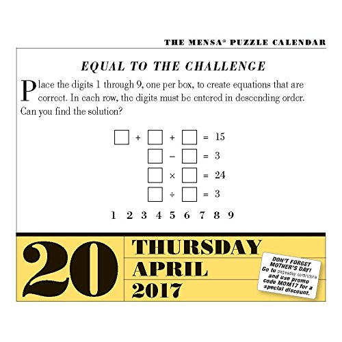 Mensa Brain Puzzlers 2017 Page-A-Day Calendar Photo #4