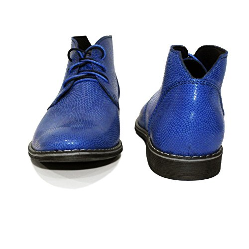 Blu Italiano Vacchetta Chukka Allacciare Boots Pelle Rilievo Pelle Handmade Chukkero Modello in da in Uomo xfn1wHfpaq