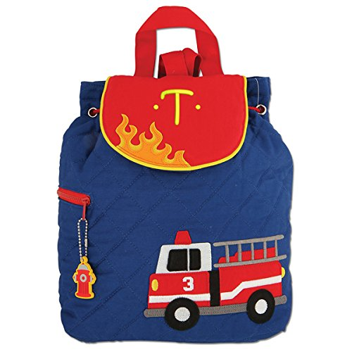 Monogrammed Stephen Joseph Firetruck Quilted Backpack, with Yellow Embroidered Initial ()