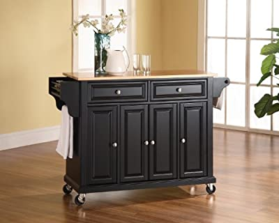 Crosley Furniture Rolling Kitchen Island with Natural Wood Top - Black