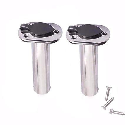 2PCS Stainless Steel 15 Degree Flush Mount Boat Fishing Rod Holder PVC inner