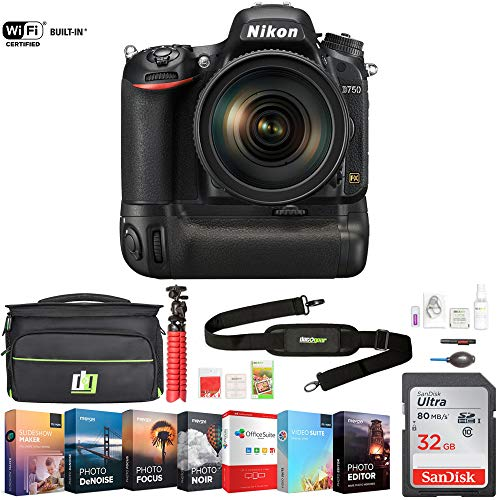Nikon D750 DSLR 24.3MP Camera w/AF-S NIKKOR 24-120mm f/4G ED VR Lens (1549) w/ 32GB Deluxe Battery Grip Bundle Includes, Accessories, Deco Gear Camera Bag and Photo & Video Professional Editing Suite