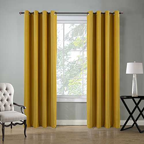 - Roslynwood Velvet Curtains Room Darkening Grommet Top Window Curtain Panel Pair Drapes Yellow for Bedroom 52Wx96L(2 Panels) Custom Drapery