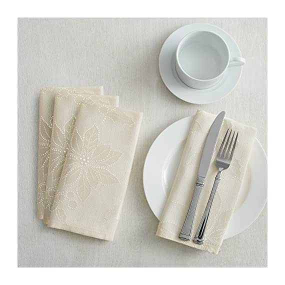 """Poinsettia Legacy Damask Christmas Tablecloth (Ivory, 60"""" X 120"""" Rectangular) - Benson Mills brought you the Poinsettia Legacy Jacquard tablecloth. This shiny fabric will brighten your day & table all throughout the winter months. Easy Care Care Instructions: Machine wash, cold, gentle cycle. Wash dark colors separately. Use non-chlorine bleach only. Tumble dry low. Remove promptly. Lightly iron if necessary. - tablecloths, kitchen-dining-room-table-linens, kitchen-dining-room - 51yTOnlsQkL. SS570  -"""