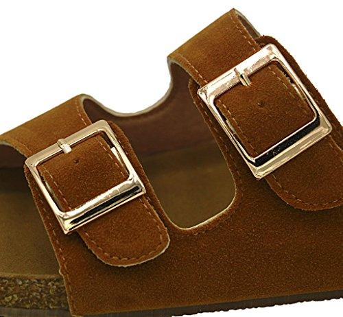 AgeeMi Shoes Unisex Slip On Offener Zeh Doppel Riemen Gummi Flats Sandalen Braun Nubuk (EuL04)