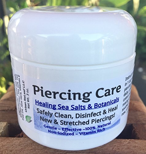 PIERCING CARE ! Healing Sea Salts & Botanical AFTERCARE :) Safely Clean, Disinfect & Heal New & Stretched Piercings. Gentle ~ Effective ~ Natural. NON-iodized. Vitamin Rich. Dead Sea Salt, Mediterranean Sea Salt, Tea Tree Oil, Aloe Vera, Vitamin E. (Aftercare Piercing)