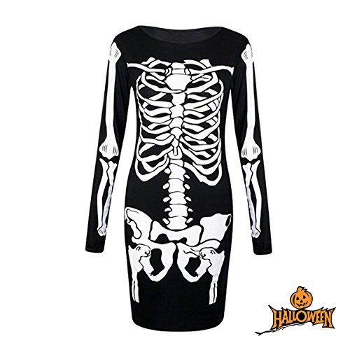 Y-BOX Womens Long Sleeves Skeleton Bones Halloween Dress Bodycon Party Fancy Dress -