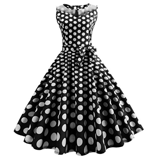 Lljin Women Vintage Dot Printing Sleeveless Mesh Patchwork Evening Party Swing Dress (Black, XXL)