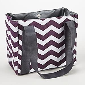 Fit & Fresh Women's Venice Insulated Lunch Bag with Ice Pack, Stylish Adult Lunch Bag for Work or School, Plum & White Chevron