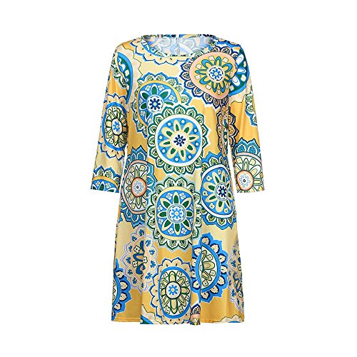 iLUGU O-Neck Half Sleeve Mini Dress for Women Boho Circle Print A-Line Prom Dresses Yellow