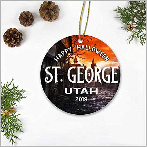 Halloween Parties 2019 Utah (Halloween Tree Ornaments - Happy Halloween St. George Utah UT 2019 - Halloween Ornaments Ceramic 3 Inches Novelty For Home Decoration For Family,)