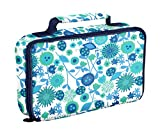 Image of Fit & Fresh Bento Box Lunch Kit with Reusable BPA-Free Removable Plastic Containers, Zipper Insulated Lunch Bag and Ice Packs, Kids, Men, Ladies (Blue Green Garden)