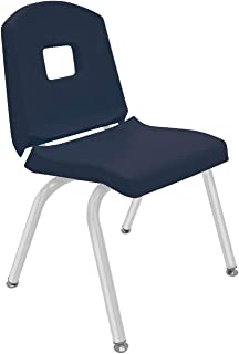 """product image for Creative Colors 1-Pack 14"""" Kids Preschool Stackable Split Bucket Chair in Navy with Platinum Silver Frame and Self Leveling Nickel Glide"""