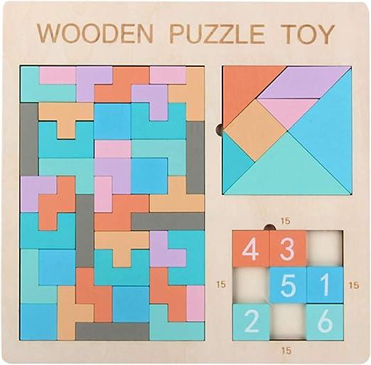 jEZmiSy - Juego de Mesa y puzle con números (3 en 1, Madera), diseño de Tetris: Amazon.es: Juguetes y juegos