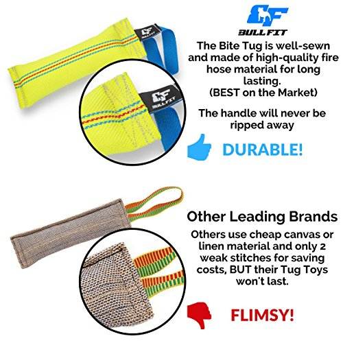 New Dog Bite Tug Toy - Extra Tough, Durable, Interactive Toys For Medium to Large Dogs by Bull Fit - Best For Tug of War, Fetch & Puppy Training! - Safe Fire Hose Dog Tug with Strong Handle, It Floats by Bull Fit (Image #4)
