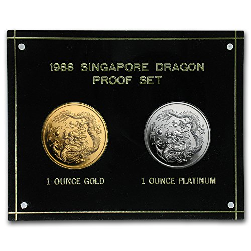 (unknown 1988 Singapore 2-Coin Platinum & Gold Dragon Proof Set Brilliant Uncirculated)